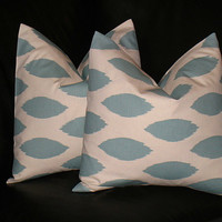 """Accent Pillows Decorative Home Decor Pillow Covers Spa BLUE 20 inch blue on natural IKAT 20"""""""