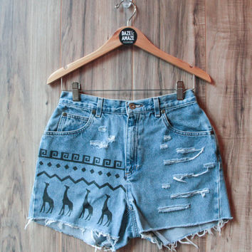 Giraffe Denim Shorts High Waisted Vintage Ripped Distressed Tribal Aztec Giraffes Safari Hand Painted