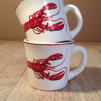 Vintage Red and White American Pottery Lobster Coffee Mugs