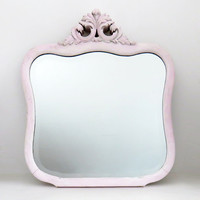 Vintage pink princess mirror - Pink wooden princess mirror - Cottage chic mirror - girl bedroom decor - Shabby style bedroom decor