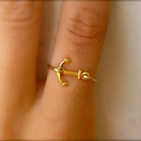 Anchor Ring - 14k Gold Sideways Anchor Ring