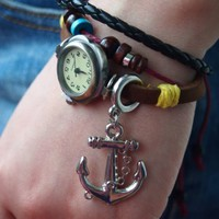 Leather Belt Watch with Anchor Pendant and Wooden Beads QTM136