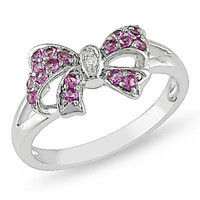 Lab-Created Pink Sapphire and Diamond Accent Bow Ring in Sterling Silver - View All Rings - Zales