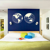 Wall Decal Vinyl Sticker Decals Art Decor Design Earth Planet World Map Geography Children Kids Nursery Library Bedroom Living Room (r147)