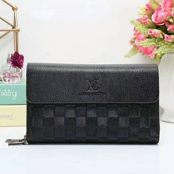 LV women shopping leather handbag purse wallet black I-LLBPFSH Tagre™