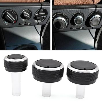 3pcs Aluminum alloy air conditioning knob AC Knob For volkswagen GOLF 4 passat B5 Bora
