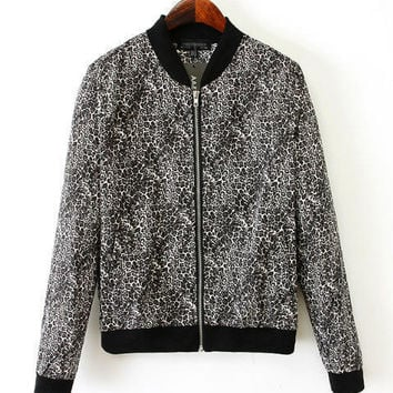 Black Animal Print Zip-Up Jacket