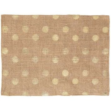 "12"" x 16"" Burlap Placemat with Gold Dots 
