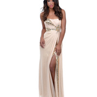 2014 Prom Dresses - Taupe Chiffon & Sequins Strapless Long Gown