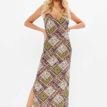 Missguided - Orange Georgette Strappy Plunge Maxi Dress