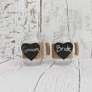 Mason Jar Wedding Mugs Rustic Wedding Drinking Glasses Mason Jar Wedding Decor Chalkboard Wedding Decor Barn Wedding Country Wedding Decor