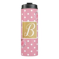 Pink Polkadot and Peonies Thermal Tumbler | Zazzle.co.uk