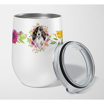 Black Parti Cocker Spaniel Pink Flowers Stainless Steel 12 oz Stemless Wine Glass CK4244TBL12