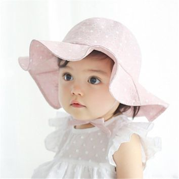 Infant/Toddler Girl's Wide Wave Brim Sun-block Hat