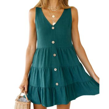 Fashion New  Solid Color Vest Dress Women Dark Green