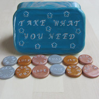 Upcycled Altoids tin, Take What You Need Inspirational Coin Tin, Polymer Gift Box, Counseling Gift, Storage Tin, Therapy Box, Container