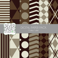 "INSTANT DOWNLOAD -  Digital Paper 12 Pack - 12""x12"" Coffee Truffle Themed Set - Digital Scrapbooking"