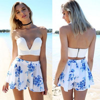 Stylish Ladies Women Two Pieces Strapless Padded Backless Solid Slim Crop Top And Print Casual Shorts Culottes