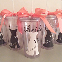 Bridesmaid tumbler gift wedding party gift acrylic tumbler cup