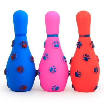 Family Friends party Board game Dog Squeaker Toys Pet Toys Chew Bowling Ball Shape Toy Puppy Cat Pet Supplies Dog Bauble for Small Medium Large Dogs 3PCS/Lot AT_41_3