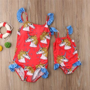 One Piece Bathing Suit Family Matching Swimwear 2018 New Mother Daughter Women Kids Baby Girls  Swimsuit Bikini Monokini Bathing Suits Trikini KO_9_1