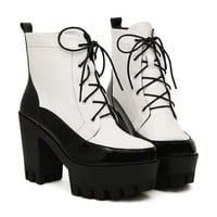 White PU Leather Lace Up Boots
