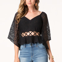 bebe Womens Flare Sleeve Lattice Top