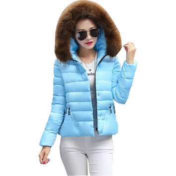 2016 Winter coat women autumn new clothing female short big fur collar Korean cotton ladies factory down coats vestidos BD022