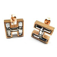 Hermes Fashion Women Crystal H Type Diamond Earring Earrings I12908-1