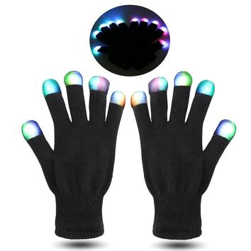 FOXNOVO Pair of Black and White Flashing Finger Lighting Gloves LED Colorful Rave Gloves 7 Colors Light Show Christmas Gift