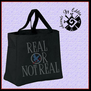 The ORIGINAL Hunger Games Inspired REAL or Not REAL Sturdy Rhinestone Tote Bag (your choice of color) Mockingjay