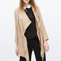Asymmetrical Drawstring Waist Coat