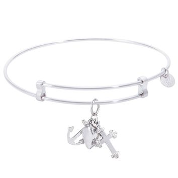 Sterling Silver Confident Bangle Bracelet With Faith,Hope,Charity Charm