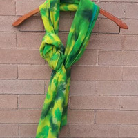 Green and Yellow Tie Dye Scarf By LittleColorMonster