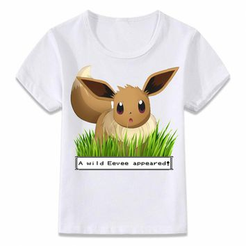 Kids Clothes T Shirt A Wild Eevee Appears In The Wild Pokemon T-shirt for Boys and Girls Toddler Shirts Tee