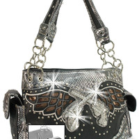 * Concealed Carry Winged Rhinestone Pistols Layered Handbag In Black