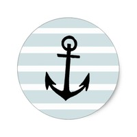 Anchor and Beach Hut Blue Stripes Classic Round Sticker