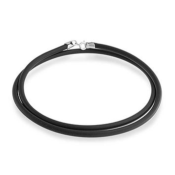 Black Rubber Necklace Pendant Cord s Silver Plated Lobster Claw Clasp