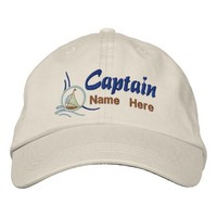 Nautical Sailboat Captain Personalized Embroidery Embroidered Baseball Cap