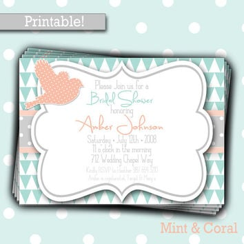 Printable Wedding Shower Invitation, Bridal Shower Invitation, Triangle, Bird, Ribbon, Yellow, Gray, Mint, Coral