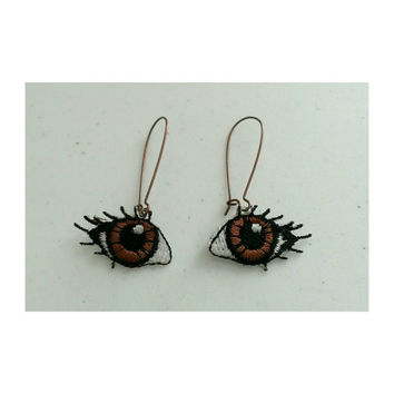 Brown eyed girl embroidered eyeball earrings
