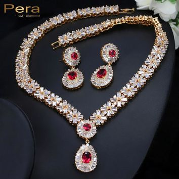 Pera CZ Classic Cubic Zirconia Gold Color Nigerian Wedding African Costume Big Statement Jewelry Set With Red Crystal Stone J060