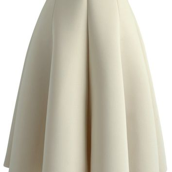 Simplicity Beige Airy Pleated Skirt