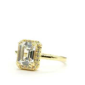 Emerald Cut Halo Engagement Style Gold Tone Fashion Ring
