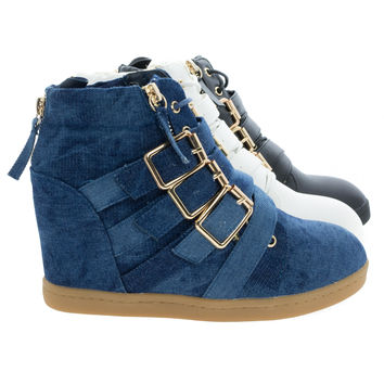 Biggie1 By Liliana, High Top Concealed Hidden Wedge Sneaker w Gold Metal Hardware & Rubber Sole Jean Shoes