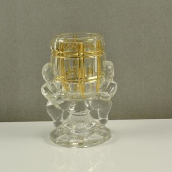 Toothpick Match Holder PEEK a BOO Belmont Glass Works McKee Jeanette Victorian Era 1800s  Gold Trim Original EAPG Glass Pattern Glass