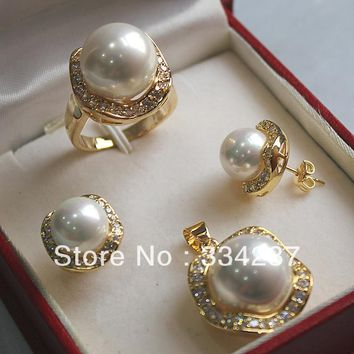 New Listed!Free shipping White   South Sea Shell Pearl Ring Pendant Earring Jewelry Set