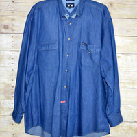 Mens Woods & Gray Denim Blue Size Large Button Down Shirt
