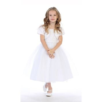 Tulle Communion Dress with Beads, Sequins and Rhinestone Trim - SP641