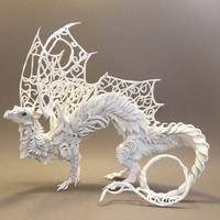 CUSTOM ORDER White Dragon by creaturesfromel on Etsy